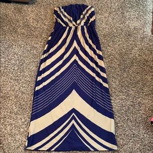 Dresses & Skirts - Navy & cream color strapless maxi dress